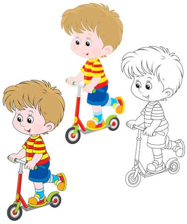 Boy scooterist Vector Illustration