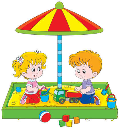 Little girl and boy playing in a sandbox