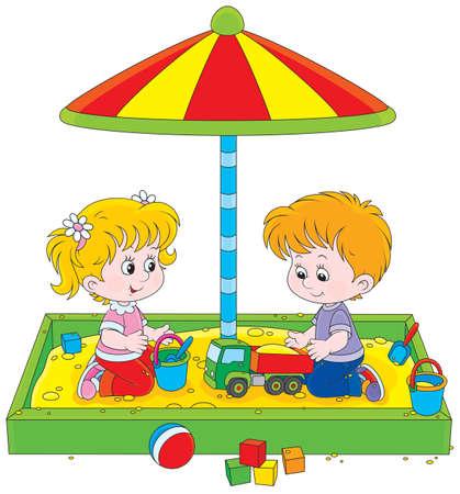 Meisje en jongen spelen in een zandbak Stock Illustratie