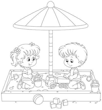 Kinderen spelen in een zandbak Stock Illustratie