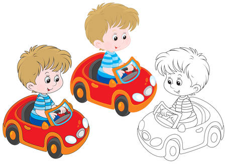 Little boy riding in a red toy car Vectores