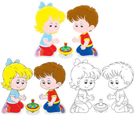 Los niños juegan con una perinola Foto de archivo - 24941879