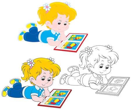 Girl reading Vettoriali