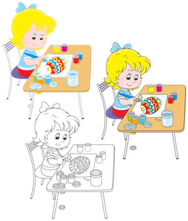 Little girl drawing a decorated Easter egg Vector Illustration
