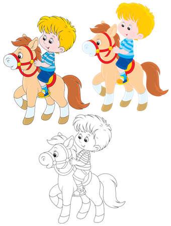 boy riding a pony Vector Illustration