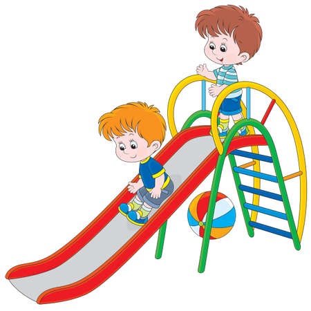 Kids on a slide Ilustracja