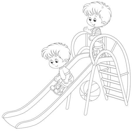 Kleine jongens op een dia Stock Illustratie