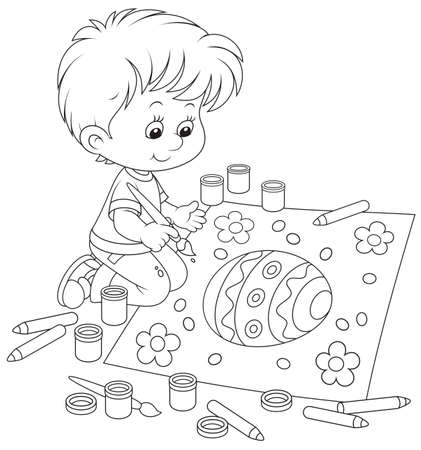 Kid drawing an Easter egg