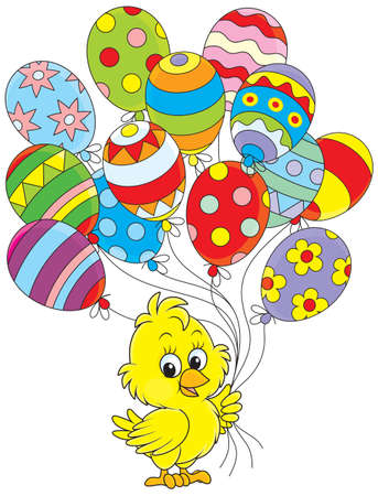 Easter Chick with balloons Vector Illustration