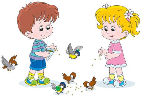 Jongen en meisje voederen vogels