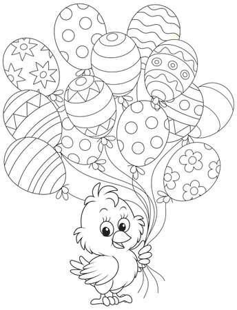 Kuiken van Pasen met ballonnen