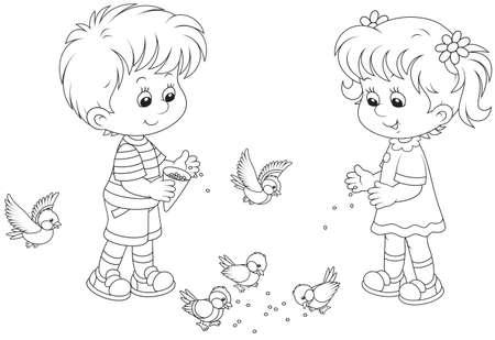 Jongen en meisje voeden mussen en mezen