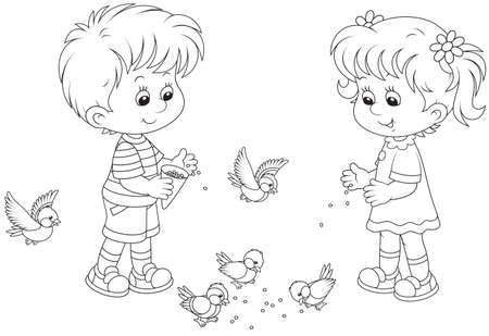 Boy and girl feed sparrows and titmice