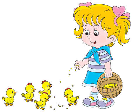 Little girl feeding small yellow chickens Vectores