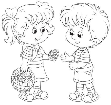 Little girl and boy on Easter Day Vectores