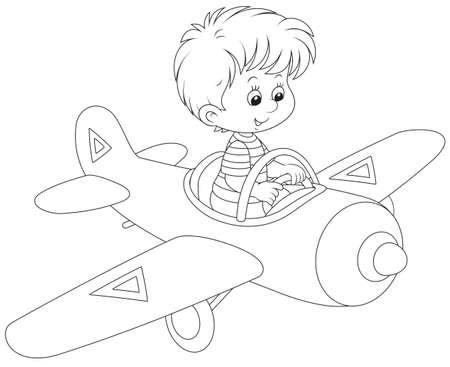 jongen die een stuk speelgoed vliegtuig