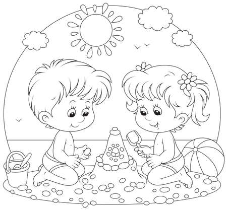 Children playing on a beach Illustration