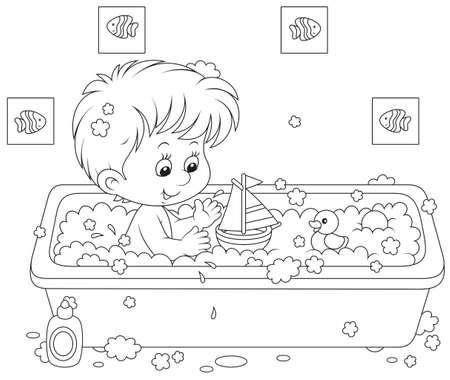 入浴の少年  イラスト・ベクター素材