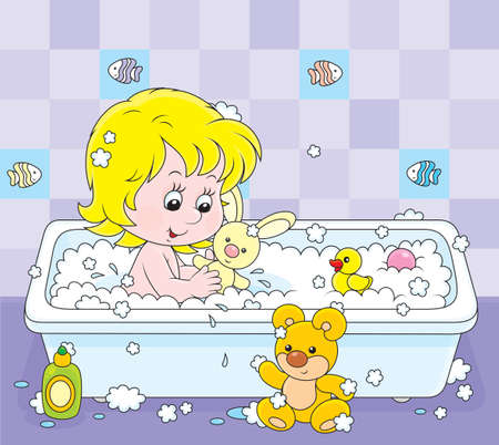 girl playing with toys in a bath