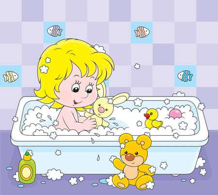 meisje spelen met speelgoed in een bad Stock Illustratie