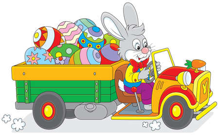 Easter rabbit rides a truck with Easter eggs