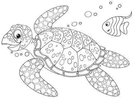 Colorear Página Del Libro - Pescado De Mar Ilustraciones Vectoriales ...