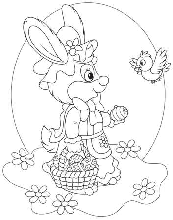 Easter Bunny with a basket of eggs Stock Vector - 25998075