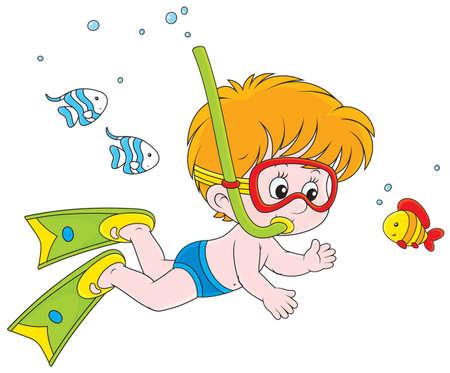 Jongen duiken met een masker en snorkel Stock Illustratie