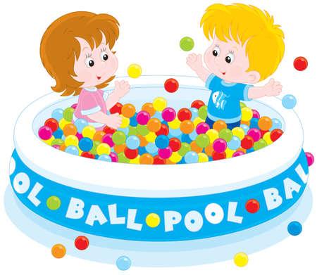 ボール プールで遊ぶ子供たち