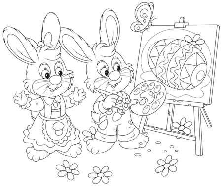 Easter Bunnies painters Stock Vector - 26193669