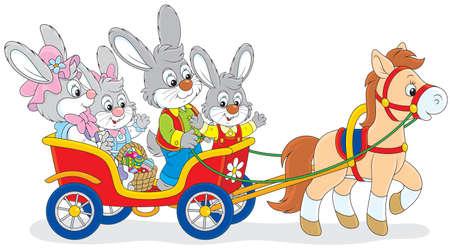 Familie van konijnen reizen in een kar met een pony