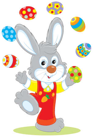 Easter Bunny juggler Vector Illustration