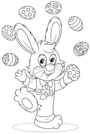 Easter Bunny juggler 矢量图像