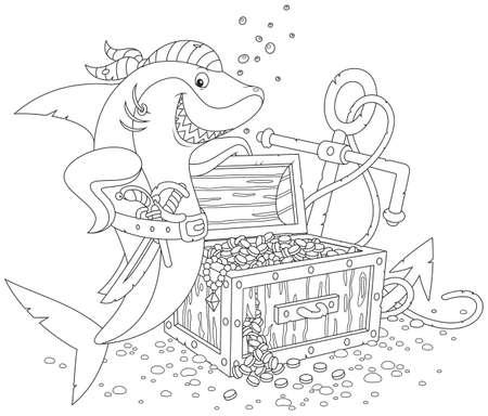 보물 상자 해적 상어 일러스트