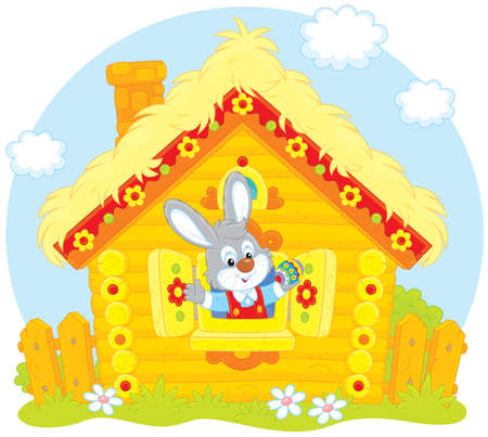 Easter Bunny in his log house