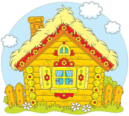 Rustic log house in a folk traditional style