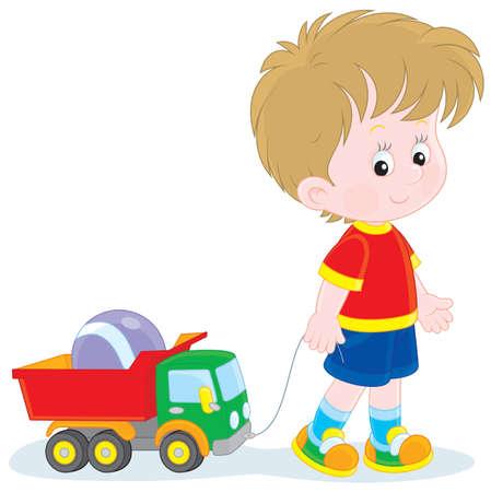 Garçon marchant avec des jouets