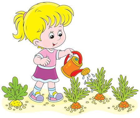 Little girl watering vegetables in a kitchen garden Vector Illustration