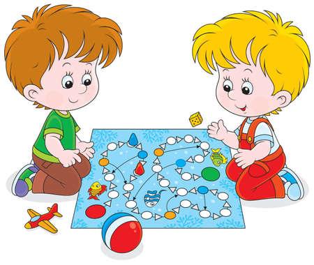 Kinderen spelen met een bordspel op de vloer Stock Illustratie