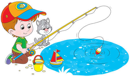 Boy and a small kitten fishing on a pond Illustration