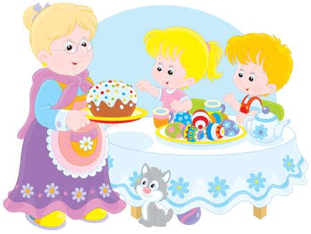Abuela y nietos celebran Pascua Ilustración de vector