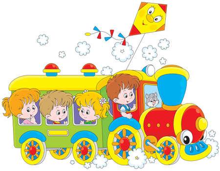 아이들은 기차로 여행 일러스트
