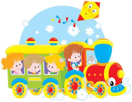 Kleine meisjes en jongens rijden op een speelgoedtrein
