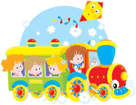 Little girls and boys riding on a toy train