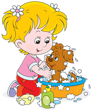 Little girl washes her pup in a basin with lather