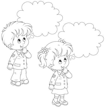 Schoolchildren solve a problem Illustration