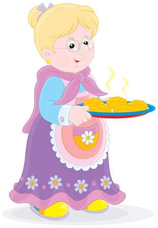 Grandmother with a tray of freshly baked patties Illusztráció