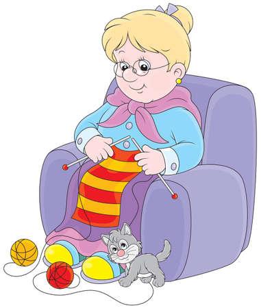 Grand-mère tricote une écharpe rayée Banque d'images - 27457627