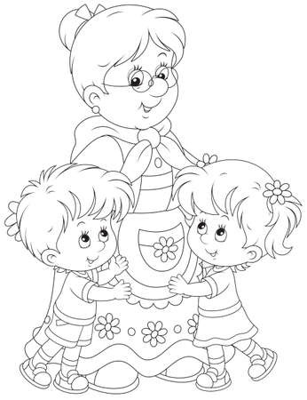 Granny and her grandchildren Illusztráció
