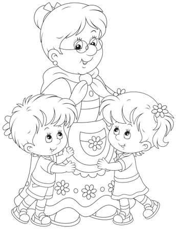 Granny and her grandchildren Vectores